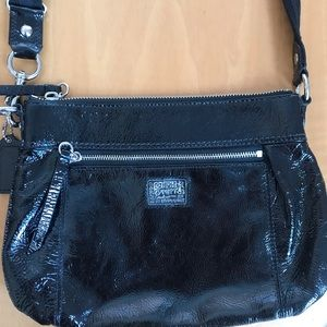 Black leather Coach side body bag